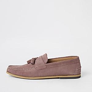 Pinke Loafer aus Wildleder mit Quaste