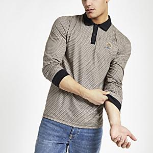Brown check slim fit polo shirt