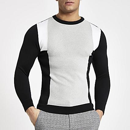 Grey blocked slim fit crew neck jumper