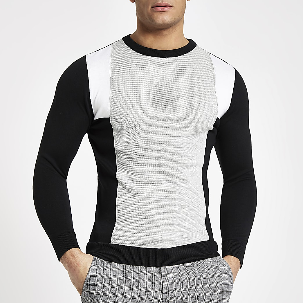 Pull slim ras-du-cou motif color block gris