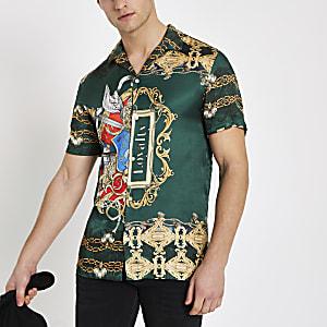 Groen overhemd met barokprint en korte mouwen