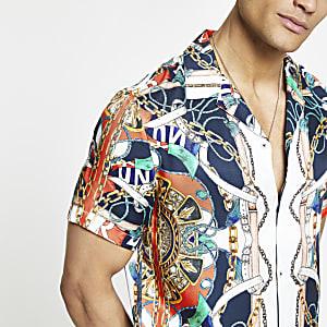 Chemise manches courtes à imprimé baroque rouge