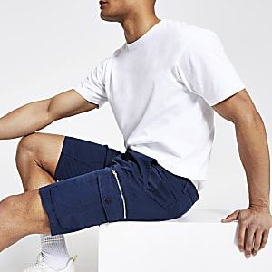 Navy slim fit cargo shorts