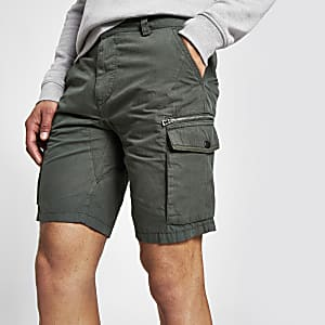 Khaki green slim fit cargo shorts