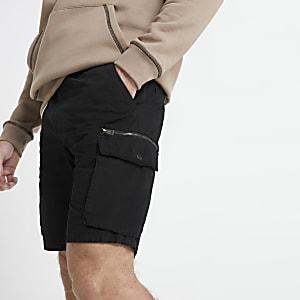 Schwarze Slim Fit Cargo-Shorts
