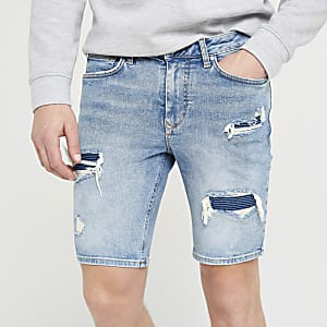 Short skinny en denim bleu clair style motard