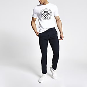 Navy check skinny trousers