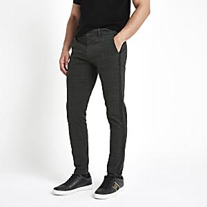 Kaki geruite skinny-fit broek