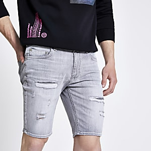 Sid – Hellgraue Skinny Shorts im Used-Look