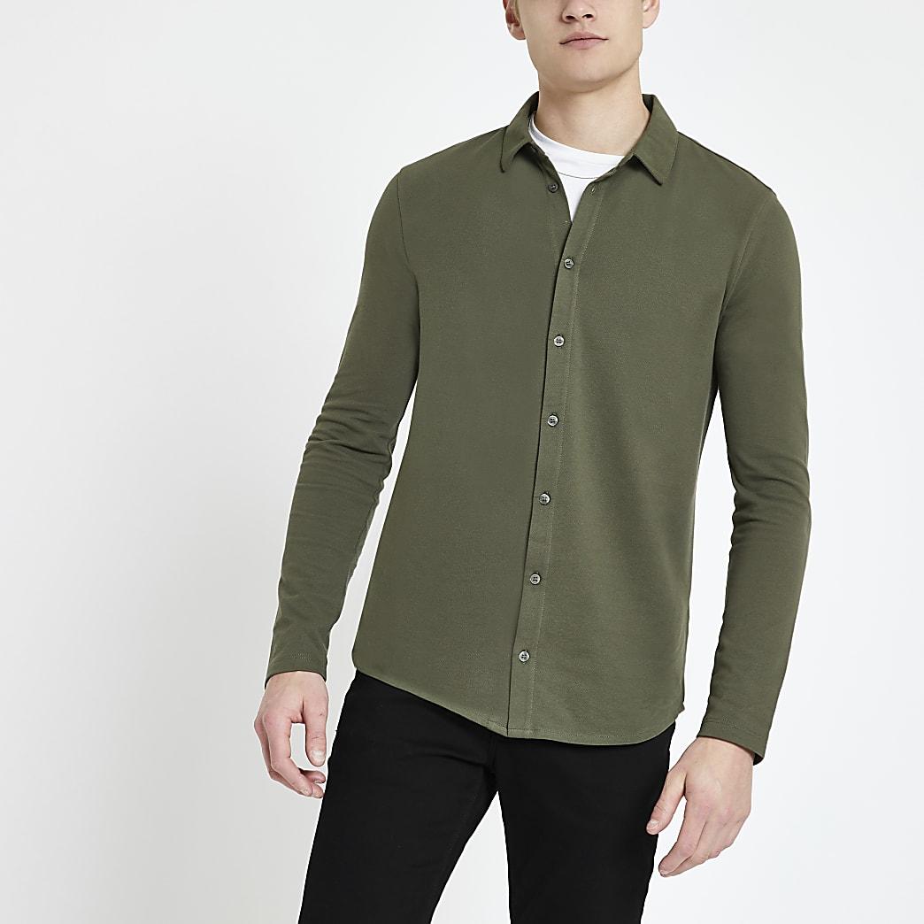 Khaki muscle fit button through polo shirt