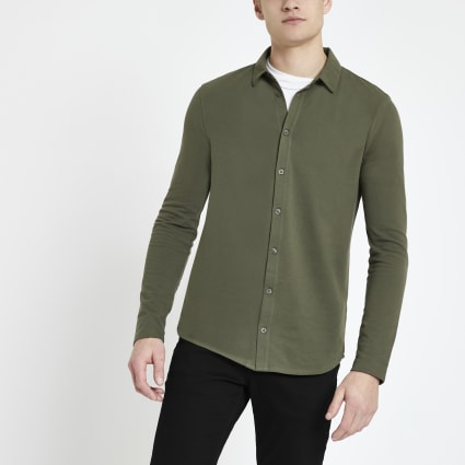Khaki muscle fit button through polo shirt