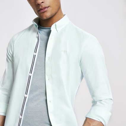 Green embroidered muscle fit Oxford shirt