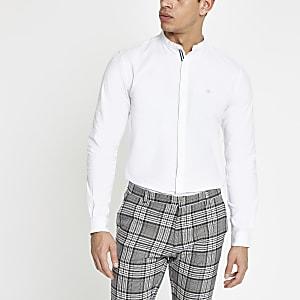Weißes Slim Fit Oxford-Hemd mit Grandad-Kragen