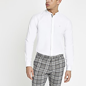 White slim fit Oxford grandad shirt