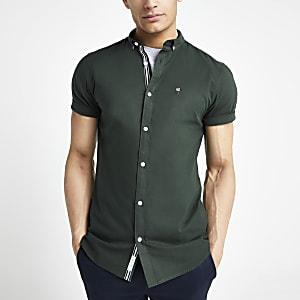 Groen Oxford overhemd met korte mouwen