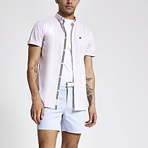 Roze Oxford overhemd met korte mouwen