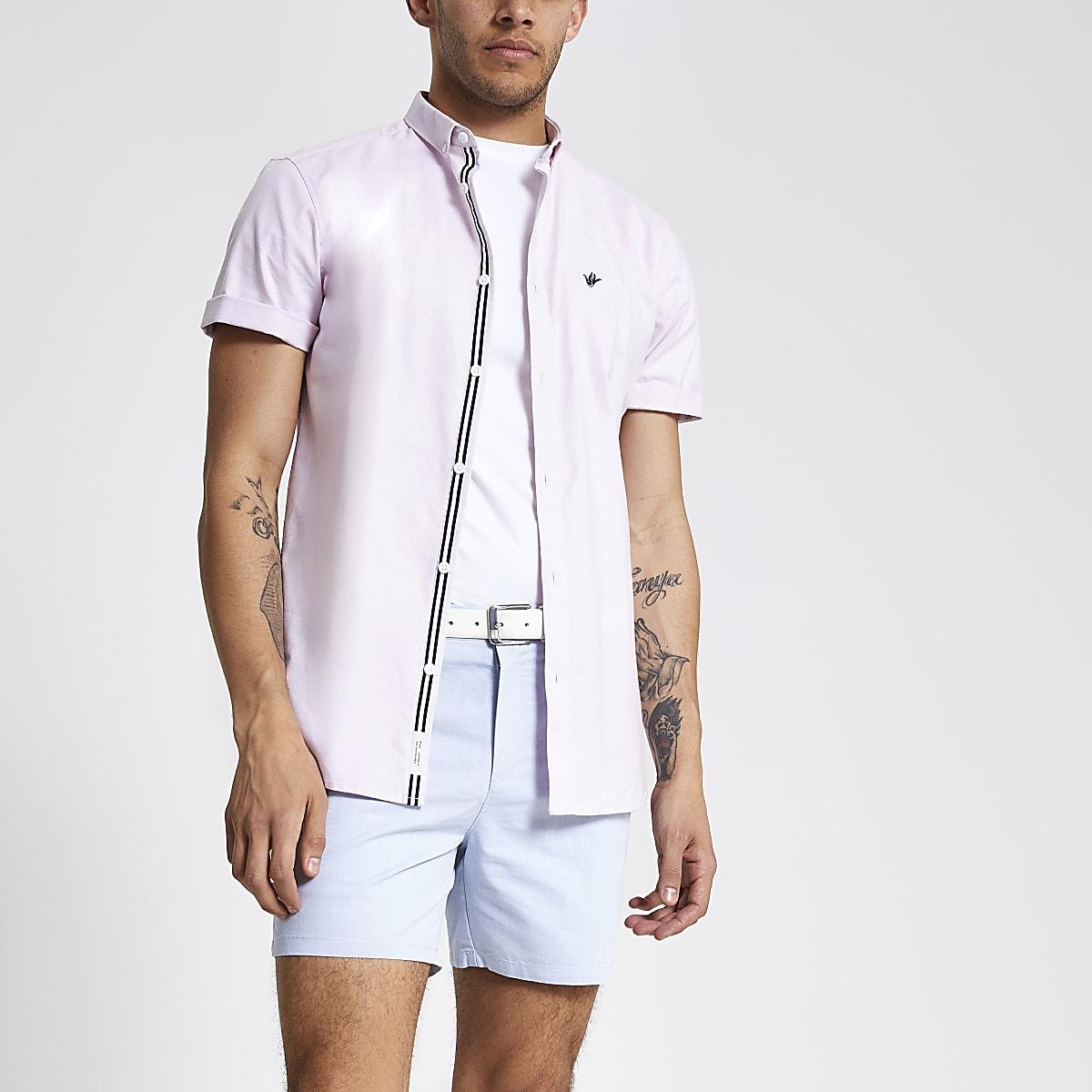 Roze Overhemd Heren Korte Mouw.Roze Oxford Overhemd Met Korte Mouwen Overhemden Met Korte Mouwen