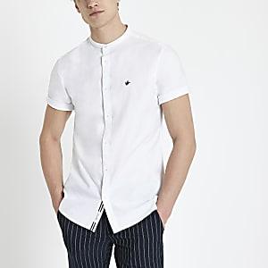 Wit Oxford overhemd zonder kraag, met korte mouwen
