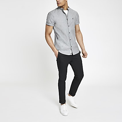 Grey Oxford grandad short sleeve shirt