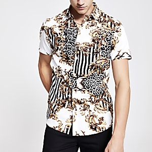 White baroque print slim fit shirt