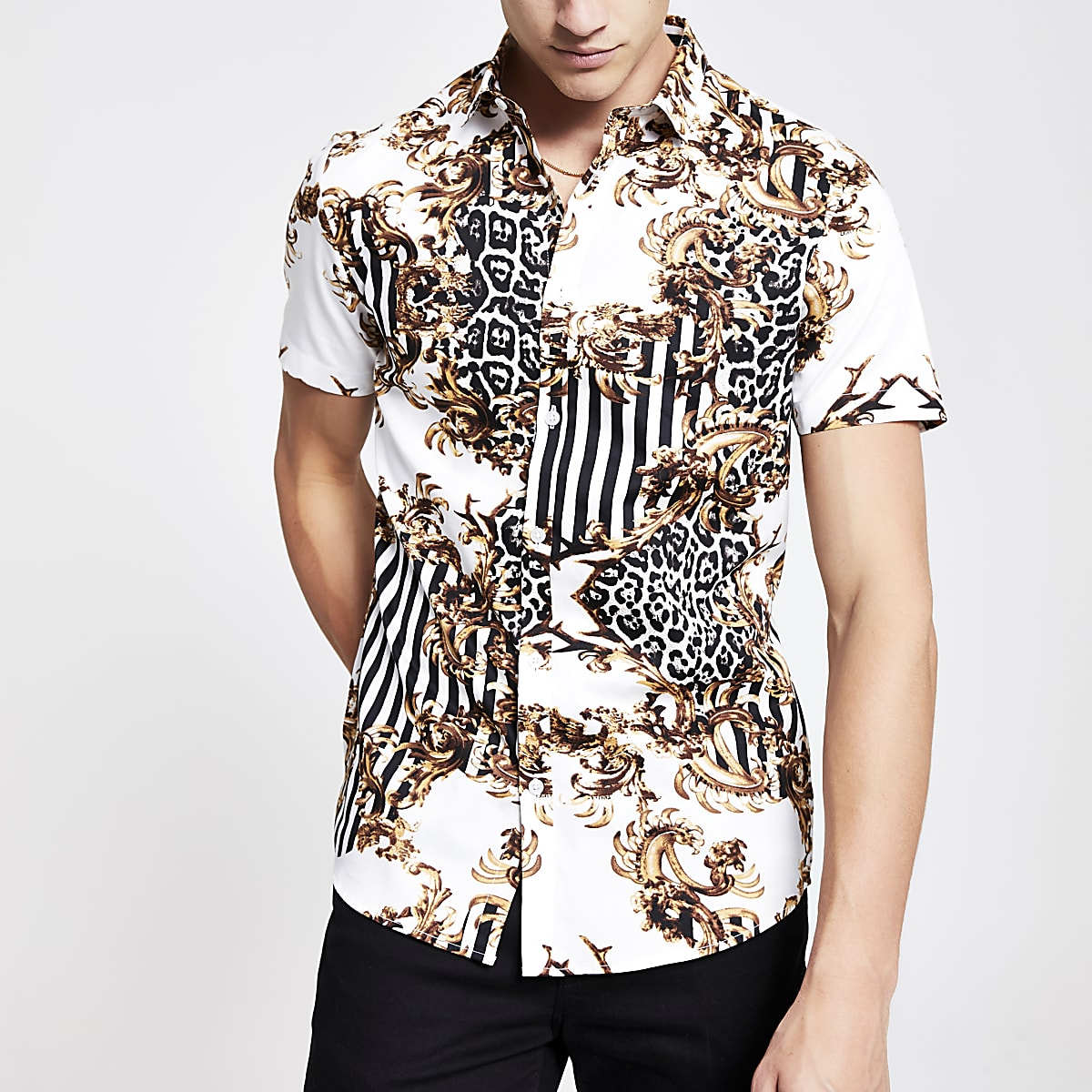 White baroque print slim fit shirt