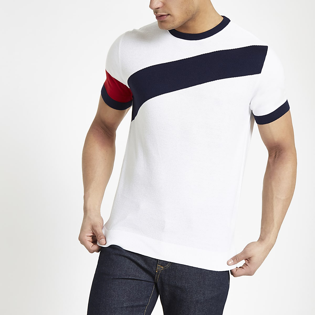White slim fit diagonal block T-shirt