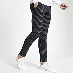 Pantalon ultra skinny rayé bleu marine