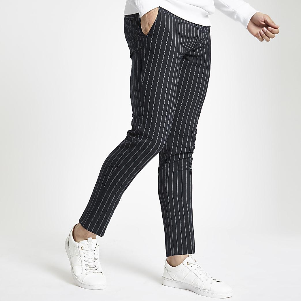 Navy stripe super skinny trousers