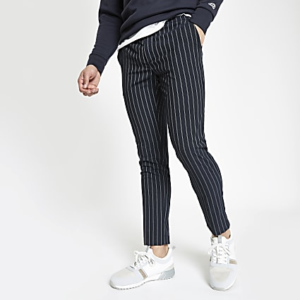 Navy stripe super skinny jogger trousers