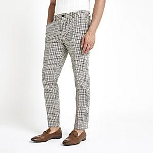 Ecru geruite vintage skinny trousers
