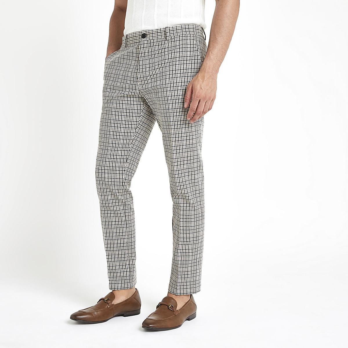 Pantalon skinny à carreaux écru