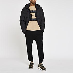 """Braunes Slim Fit T-Shirt """"MCMXL"""" mit kurzen Ärmeln"""