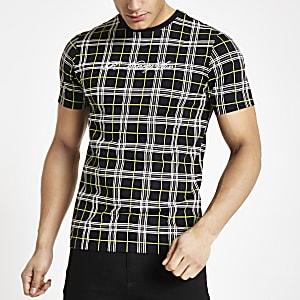 Schwarzes Slim Fit T-Shirt mit Karos