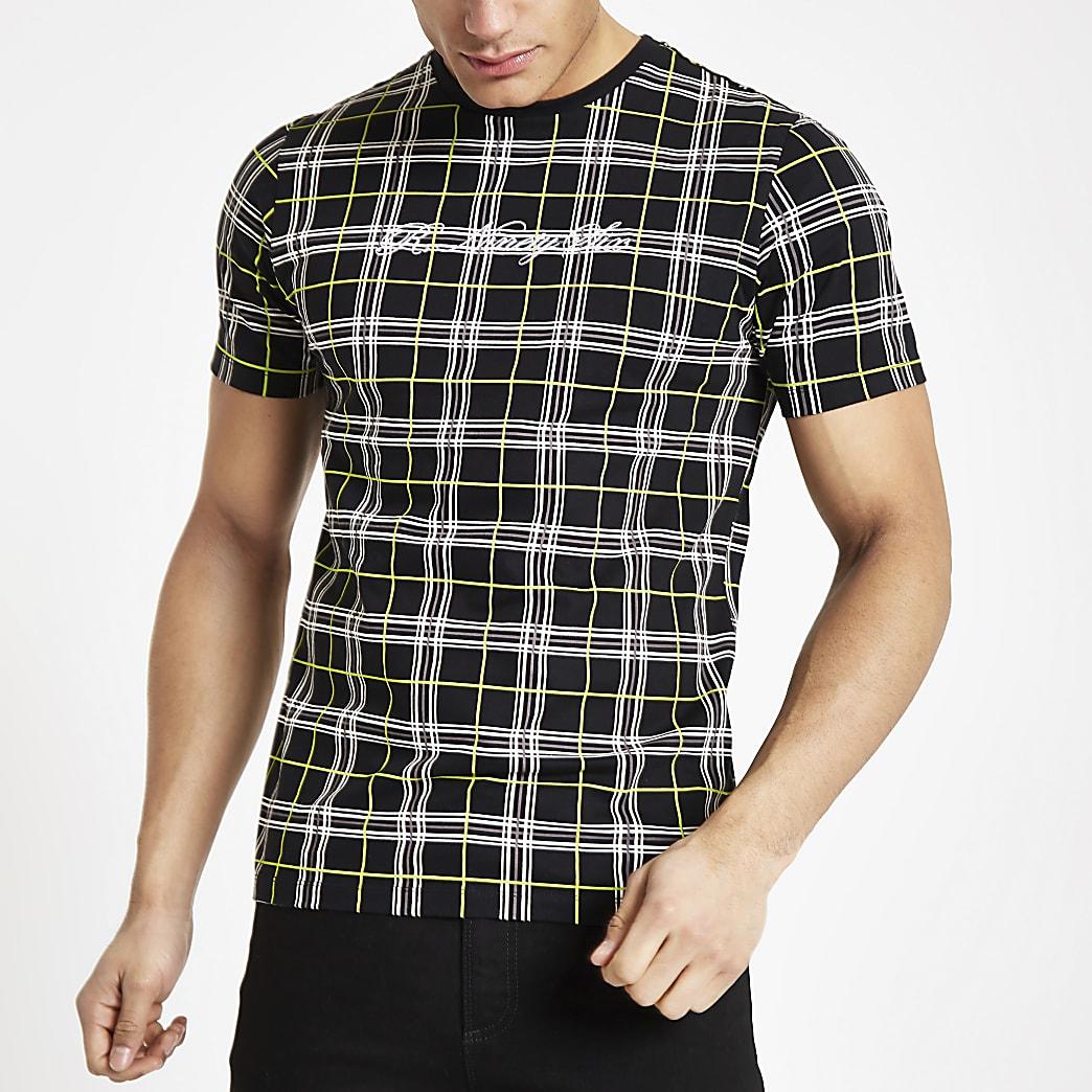Black neon check slim fit T-shirt