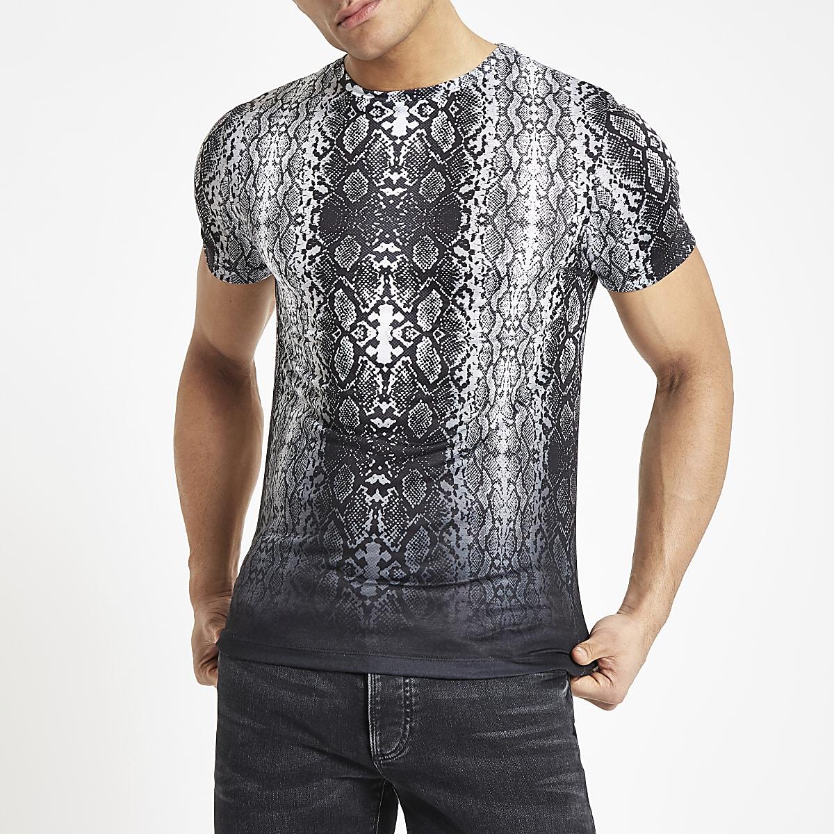 Black snake print fade slim fit T-shirt