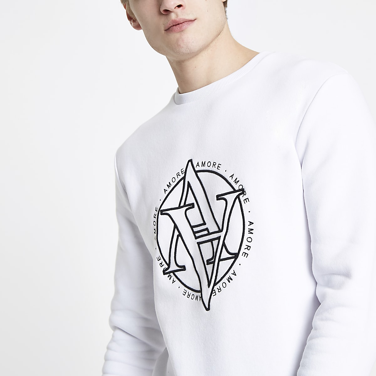 White 'Amore' slim fit sweatshirt