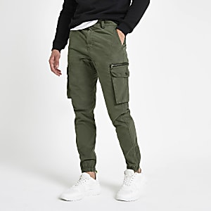 Khaki slim fit cargo pants