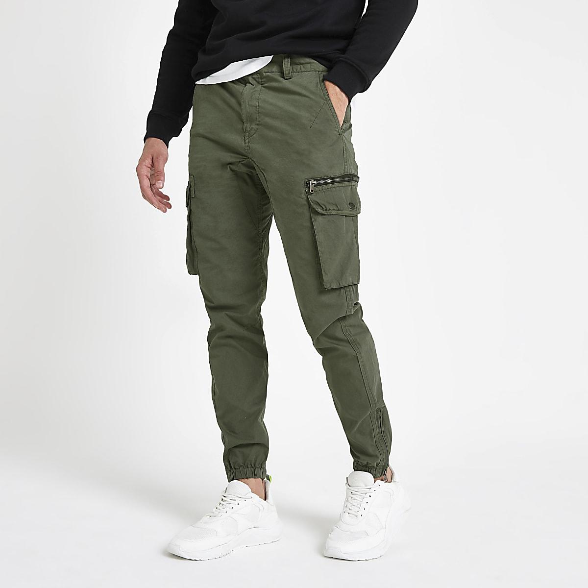 Khaki slim fit cargo pants