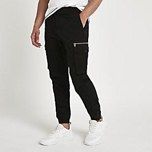 Schwarze Slim Fit Cargo-Hose