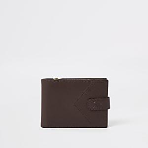 Bruine leren portemonnee met zigzagmotief en RI-logo