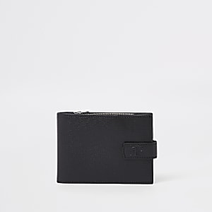Black RI perforated leather wallet