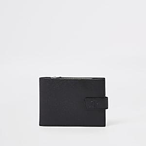 RI – Portefeuille en cuir noir perforé