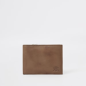 Brown RI foldout leather wallet