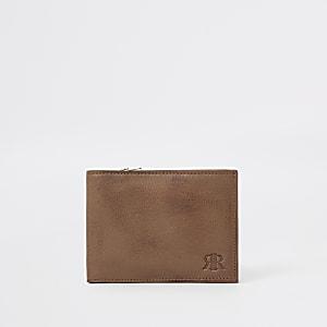 Bruine uitvouwbare leren portemonnee met RI-logo