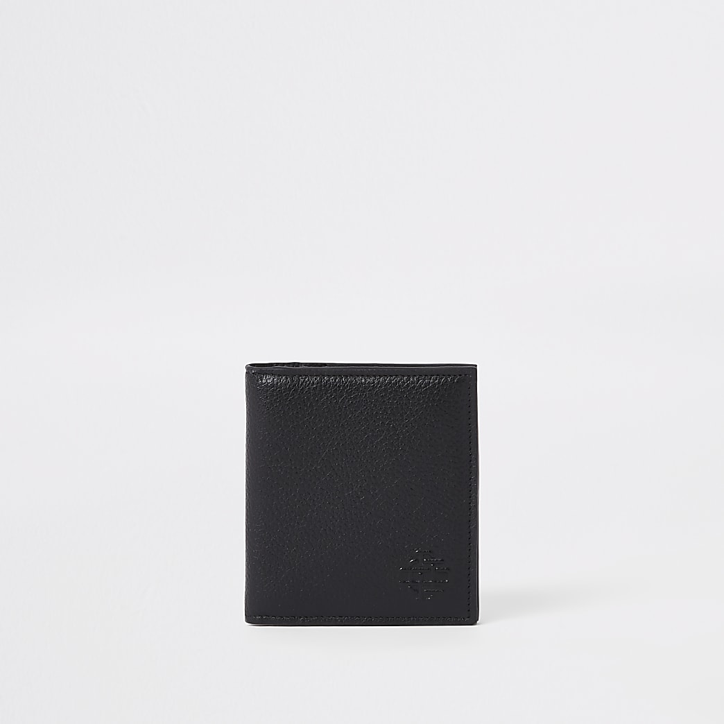 Porte-cartes en cuir noir