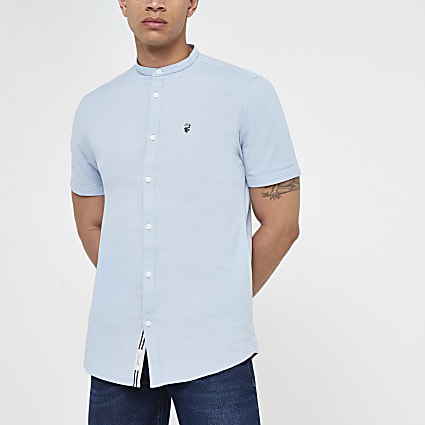 Blue Oxford grandad collar muscle fit shirt