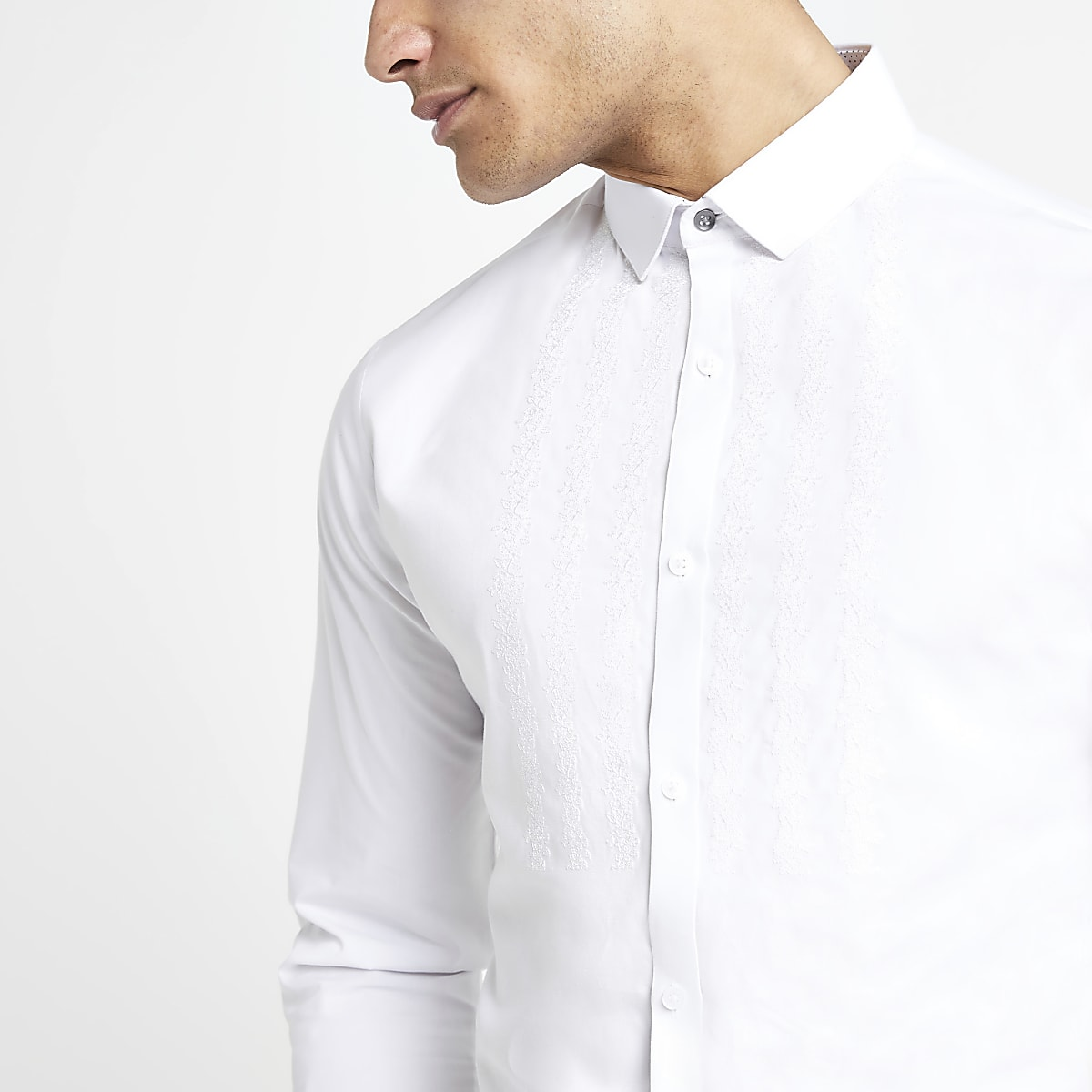 White embroidered regular fit shirt