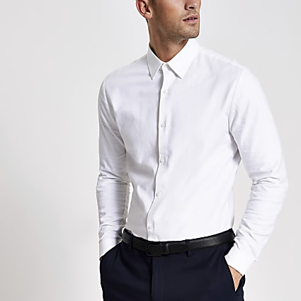 White textured slim fit long sleeve shirt