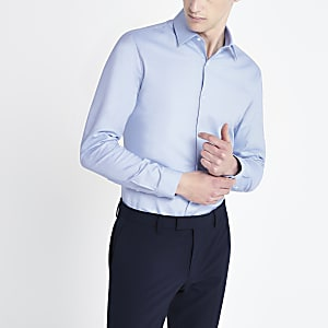 Chemise slim texturéeà manches longues bleu clair