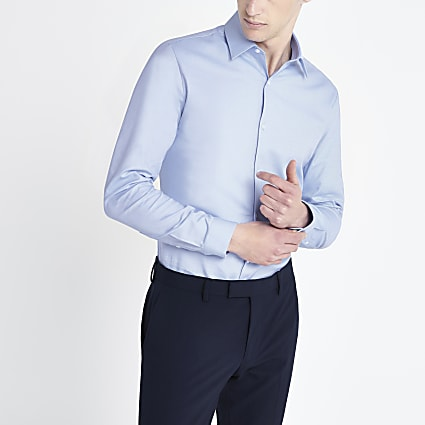 Light blue slim fittextured long sleeve shirt